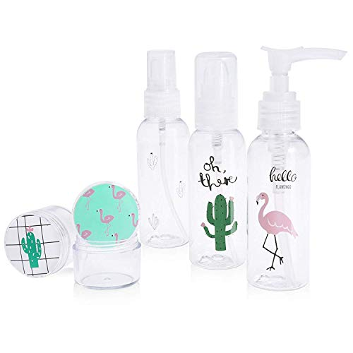 Travel Bottles Leak Proof TSA Approved Toiletry Bag Portable Containers & Accessories for Liquids Cream Shampoo for Women Kids, Flamingo Cactus Print