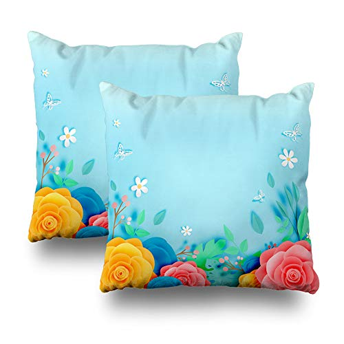 - Kutita Set of 2 Decorative Pillow Covers 18 x 18 inch Throw Pillow Covers, Beautiful Floral Paper Art with Butterfly Illustation Pattern Double-Sided Decorative Home Decor Pillowcase