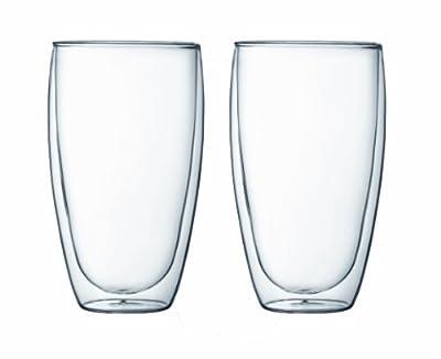 Bodum PAVINA Coffee Mug, Double-Wall Insulate Glass Mug, Clear, 15 Ounces Each (Set of 2)