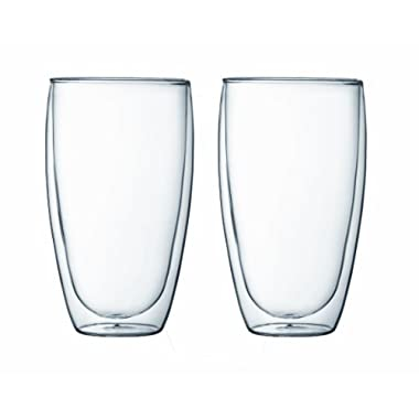 Bodum Pavina Double Wall Glass, 15-Ounce, Set of 2