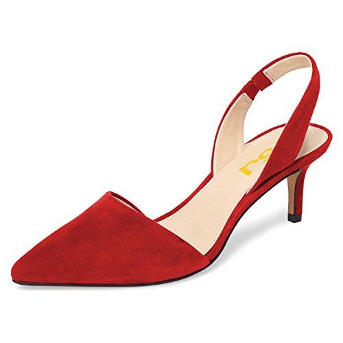 FSJ Women Fashion Low Kitten Heels Pumps Pointed Toe Slingback Sandals Dress Shoes Size 8.5 (Suede Slingback Heels)