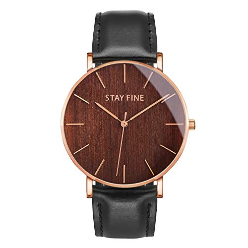 Wood Watch for Men | Mens Wooden Watch | Japanese Quartz Movement | Sapphire Crystal Glass | Italian Leather Band | by STAY FINE (Rose Gold 40mm Case, Brazilian Rosewood/Black Strap)