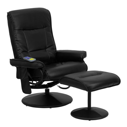 Offex OFX-84118-FF Massaging Leather Recliner and Ottoman with Leather Wrapped Base - Black