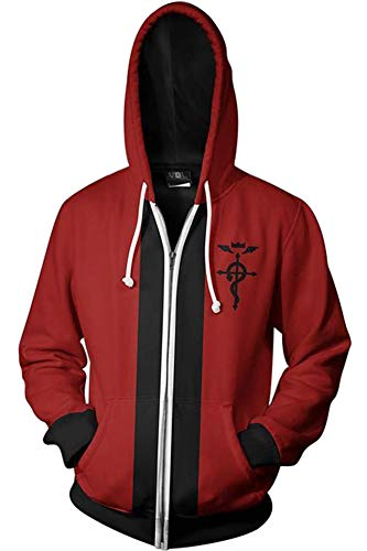 BeautifulTimes Fullmetal Alchemist Jacket Edward Elric Hoodie Adult Halloween Costume Cosplay Sweatshirt -