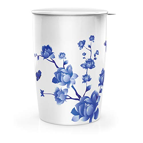 Ceramic Mug Cafe Cup with Infuser and Lid Double-Walled Insulated 12 OZ ()