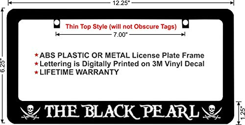(Pirates of The Caribbean The Black Pearl White Lettering Custom License Plate Frame (Metal Frame, Qty 1))