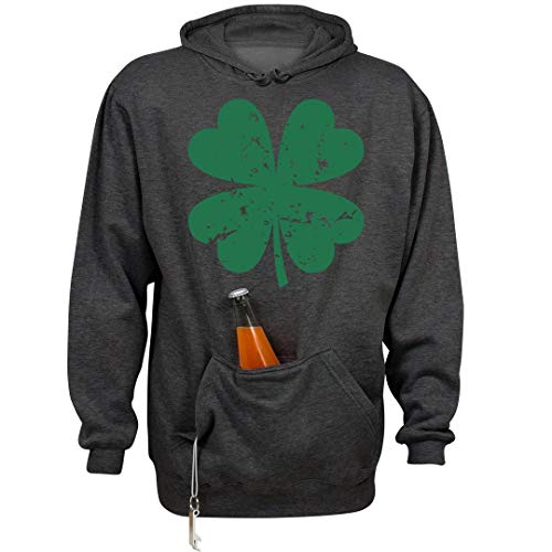 Vintage Shamrock Beer: Unisex Beer Holder Tailgate Hoodie Charcoal Heather ()