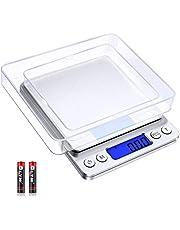 Diyife Digitale Weegschaal 500g / 0,01g, Keukenweegschaal Precisieweegschaal, Sieradenweegschaal, Hoge Precisie Elektronische Weegschaal, LCD-Display, Tarra- & PCS-Functies, Met 2 Dienblad &Batterijen (Zilver)