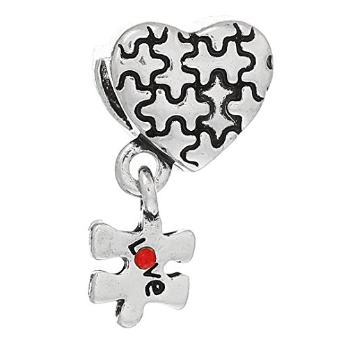 10 Autism Awareness Puzzle Piece Heart Big Hole Beads wit...