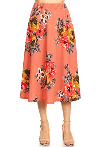 Regular Plus Size Pattern Print High Waist A-line Pleat Midi Skirt/Made in USA Floral Coral 2XL