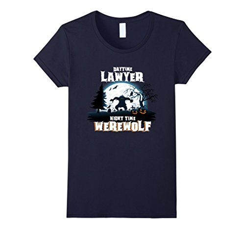 Womens Lawyer Werewolf At Night Halloween Costume Shirt Small Navy