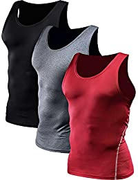 3272825f74d144 Men s 3 Pack Athletic Compression Under Base Layer Sport Tank Top