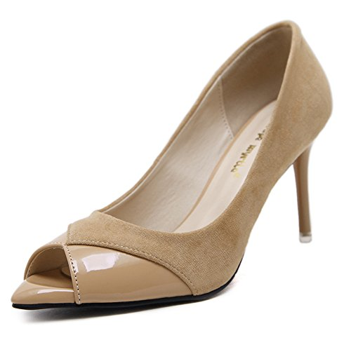 Aisun Da Donna Sexy Low Cut Dressy Con Tacco Alto A Stiletto Slip On Peep Toe Pumps Shoes Albicocca
