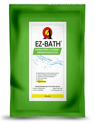 Antibacterial Body Washcloth, Unscented, Hygienic pH Balance(8 Sheets-24 Packs) by EZ-BATH