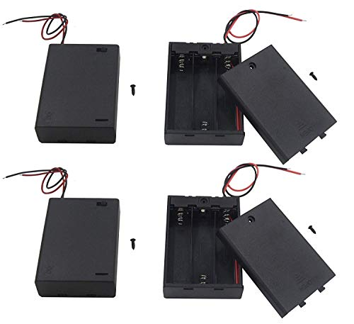 (LAMPVPATH (Pack of 4) 3 AA Battery Holder with Switch, 4.5V Battery Holder with Switch, 3X 1.5V AA Battery Holder with Leads and Switch)