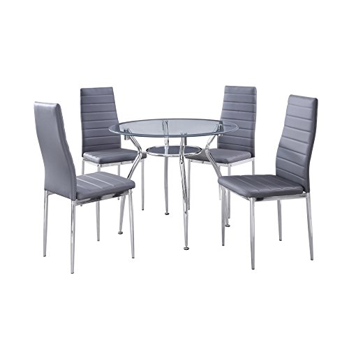 5-Piece Home Dining Kitchen Furniture Set Round Table Glass Top and 4 Chairs Gray