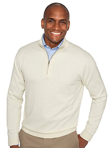 Paul Fredrick Men's Silk, Cotton \ Cashmere Zip Neck Sweater Ivory Large (Zip Cashmere Sweater)