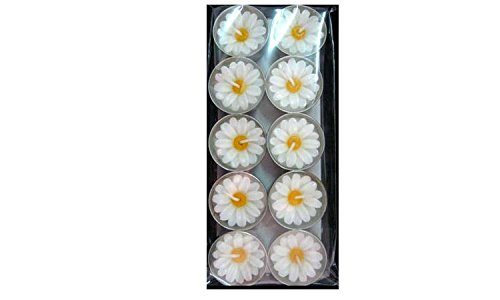 Daisy Flower Candle in Tea Lights,Wax aromatherapy candles smokeless Pack of 10 Pcs.