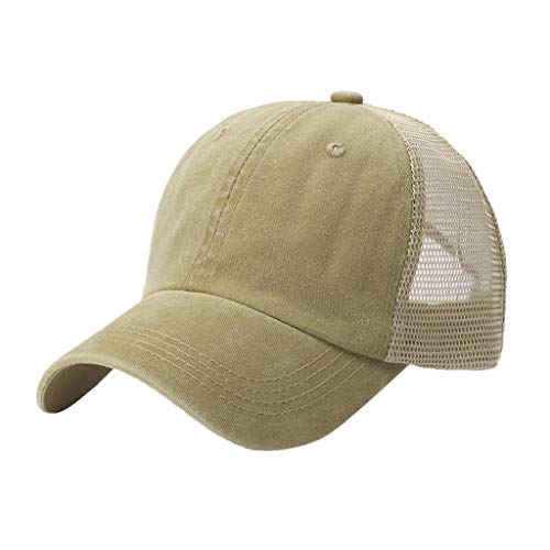 - Dressin Breathable Baseball Caps Unisex Outdoor Cotton Embroidered Mesh Adjustable Sun Hat Khaki