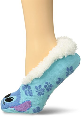 Disney Women's Lilo & Stitch Sock, Blue with Fur, Slipper Size 9-11; Fits Shoe Size 4-10.5 ()