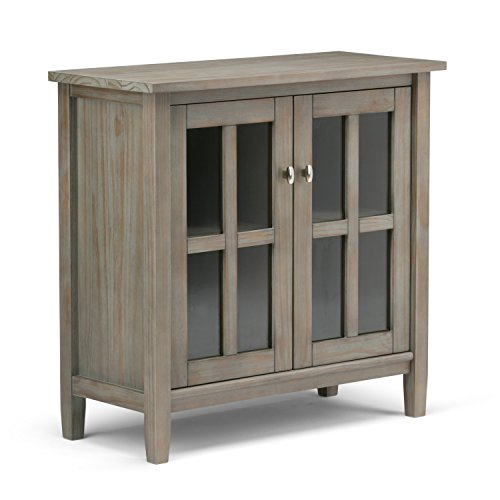 Simpli Home Warm Shaker Solid Wood Low Storage Cabinet, Distressed Grey - Distressed Wood Cabinets: Amazon.com