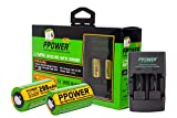 2X PPOWER 3V Real Capacity 200 mAh CR2 15270 15266 Rechargeable LiFePO4 Batteries + Rapid Charger for 3V CR2 Lithium Batteries + Car Charger