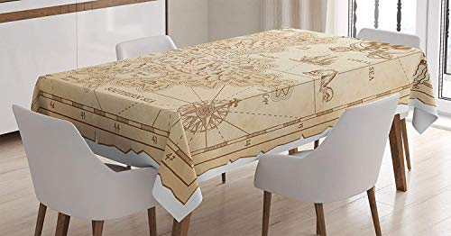 Ocean Island Decor Tablecloth,Old Ancient Antique Treasure Map with Details Retro Color Adventure Sailing Pirate Print,Linen Cotton Tablecloths for Room,61W X 100L Inch Cream ()