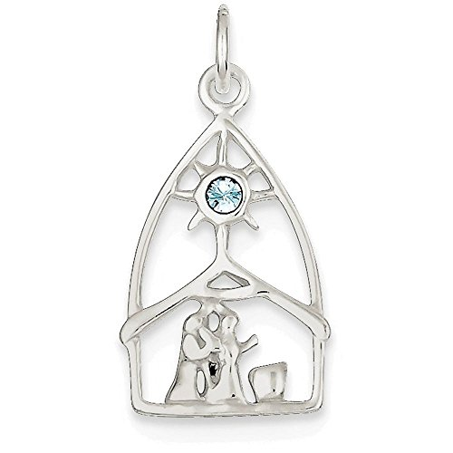 Finejewelers Sterling Silver and Stellux Crystal Nativity Charm