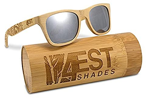 Bamboo Wood Sunglasses - Polarized handmade wooden shades in a wayfarer that Floats! (Floral Wrap Around Watch)