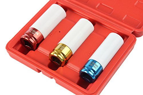- Professional Lug Nut Socket Set Manufactured Using Quality Chromoly Steel, 3-piece Thin Wall Impact Sockets, Durable Lug Nut Remover by Shankly