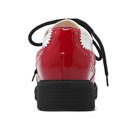 AgooLar Damen PU Gemischte Farbe Schnüren Rund Zehe Niedriger Absatz Pumps Schuhe Rot