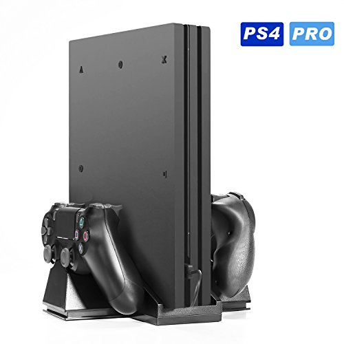 PS4 Vertical Stand Charger KINGTOP PS4 Pro Cooling Fan Stand with Dual Controller Charging Station for Sony Playstation Dualshock 4 Not for PS4 Slim