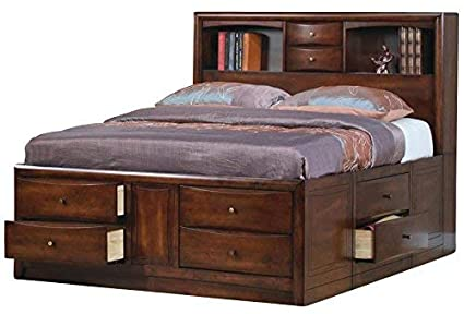 b6b69e00a3f Image Unavailable. Image not available for. Color  Hillary Eastern King  Bookcase Bed with Underbed Storage ...