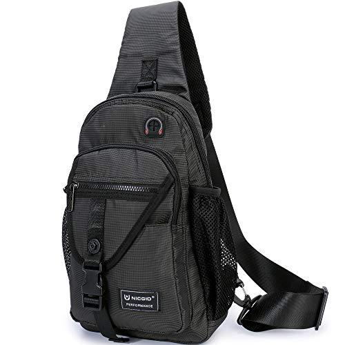 Sling Bags, Chest Shoulder Backpack Crossbody Bag One Strap Daypacks Fit 11.6-Inch Laptops iPad Outdoor Travel for Men Women (Black-1) (Best Chromebook For The Money)