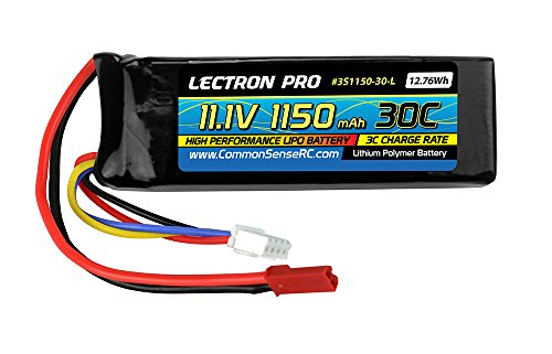 Lectron Pro 11.1V 1150mAh 30C Lipo Battery with JST Connector for E-flite Blade SR & Blade CP - Brushless Blade Cp