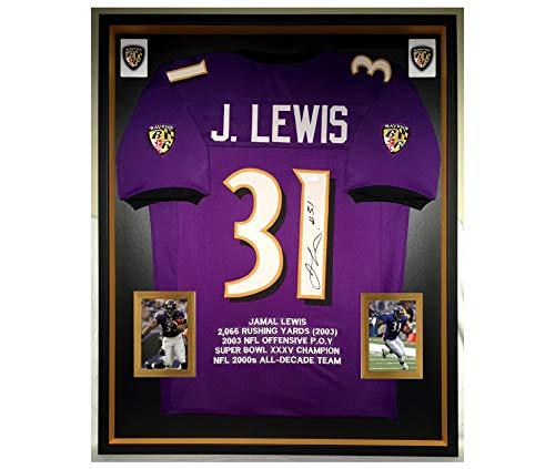 Jamal Lewis Signed Jerseys - Premium Framed Jamal Lewis Autographed/Signed Baltimore Ravens Jersey - JSA COA