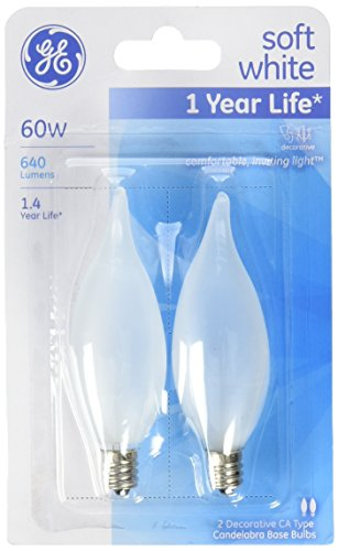 G E LIGHTING 66108 Bent Tip Light Bulb, 60W, Frosted, (Bent Tip Frosted Candelabra)