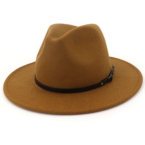 Lisianthus Women Wide Brim Wool Fedora Panama Hat with Belt Buckle Khaki
