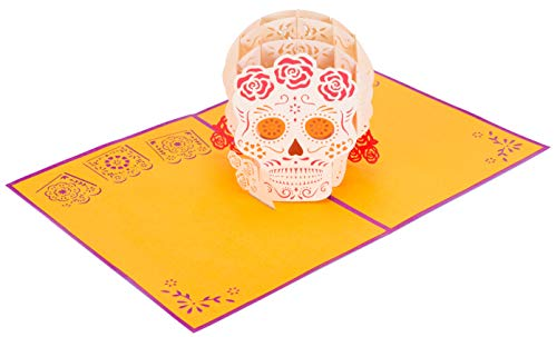 PopLife Dia de los Muertos 3D Pop Up Halloween Day Card - Mexican Sugar Skull Pop Up, Spooky Surprise, Day of the Dead - Folds Flat for Mailing - Grandkids Gift, All Hallows Eve, Kid Card, for Abuela]()
