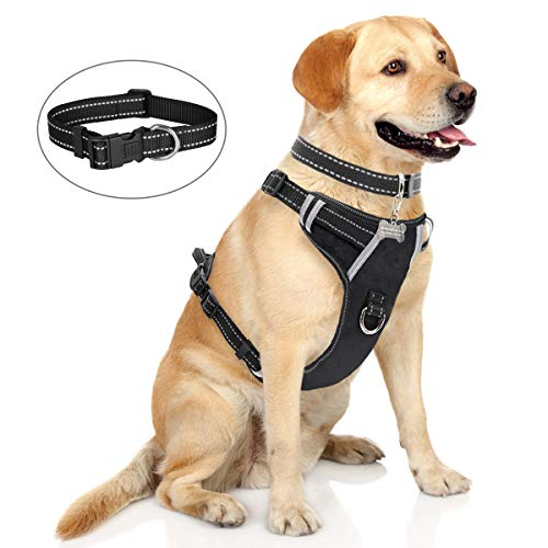 WINSEE Dog Harness No-Pull Pet Harness with Dog Collar & Front/Back Leash Clips Reflective Oxford Material Easy Control Adjustable Harness Black for Large Dogs (Dog Collar Included)