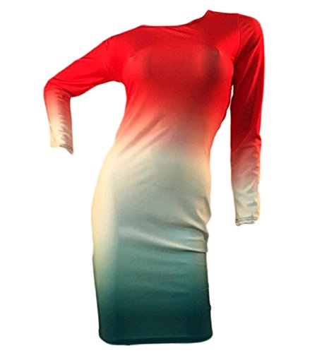 Long Hip Coolred Gradient Pattern1 Mid Sleeve Package Women's Crewneck Dress xw5S0qr1S