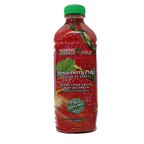 Jungle Pulp STRAWBERRY Puree Mix Pasteurized Fruit from Costa Rica Perfect for Coktails, Desserts, Smoothies and More. 33.81 Ounce / 1 Liter.