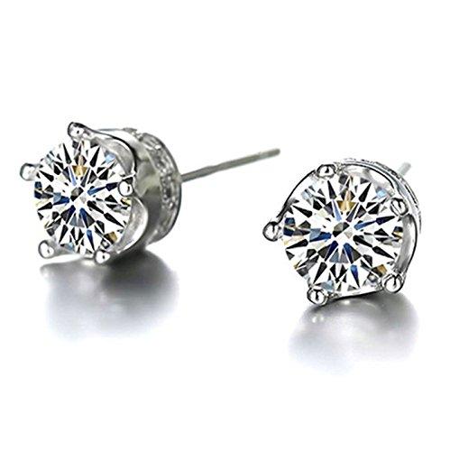 Sunbu Fashion Claw Round Cut CZ 925 silver Stud Earrings Women's Engagement Gift