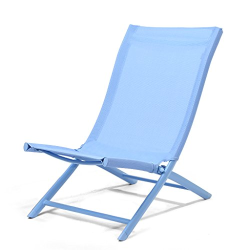 Ping Bu Qing Yun Folding Lounge Chair Lazy Back Beach Chair Casual Lunch Break Sleeping Chair Simple for Office Household Balcony Blue Yellow Pink Red Deck Chair (Color : Blue)