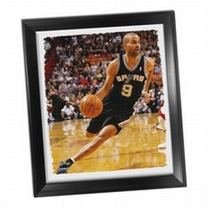 San Antonio Spurs Tony Parker ''Drive To Basket'' Stretched 22x26 Framed Canvas by Steiner Sports