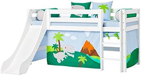 Hoppe Kids Cuna dinosaurios con tobogán, Cortina, colchón ...