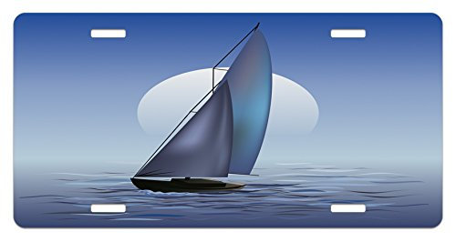 Ambesonne Nautical License Plate, Sailing Boat in Moonrise Dramatic Sky Ocean Reflections Wavy Serene Illustration, High Gloss Aluminum Novelty Plate, 5.88 L X 11.88 W Inches, Violet Blue