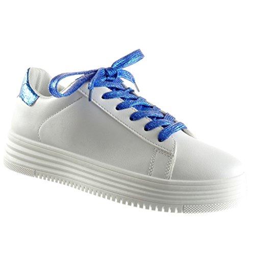 Pelle cm Blu Lucide Angkorly Zeppe 3 Scarpe Sneaker Tennis 5 Tacco Paillette Zeppa Low Piattaforma Moda Donna Serpente di qTr0UPwTx