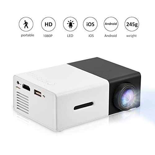 fosa Mini Projector Portable 1080P LED Projector Home Cinema Theater Indoor/Outdoor Movie projectors Support Laptop PC Smartphone HDMI Input Great Gift Pocket Projector for Party and Camping