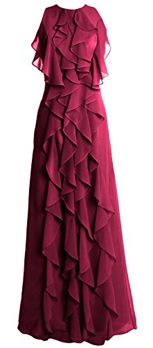 MACloth Women O Neck Long Bridesmaid Dress Chiffon Wedding Party Evening Gown Wine Red
